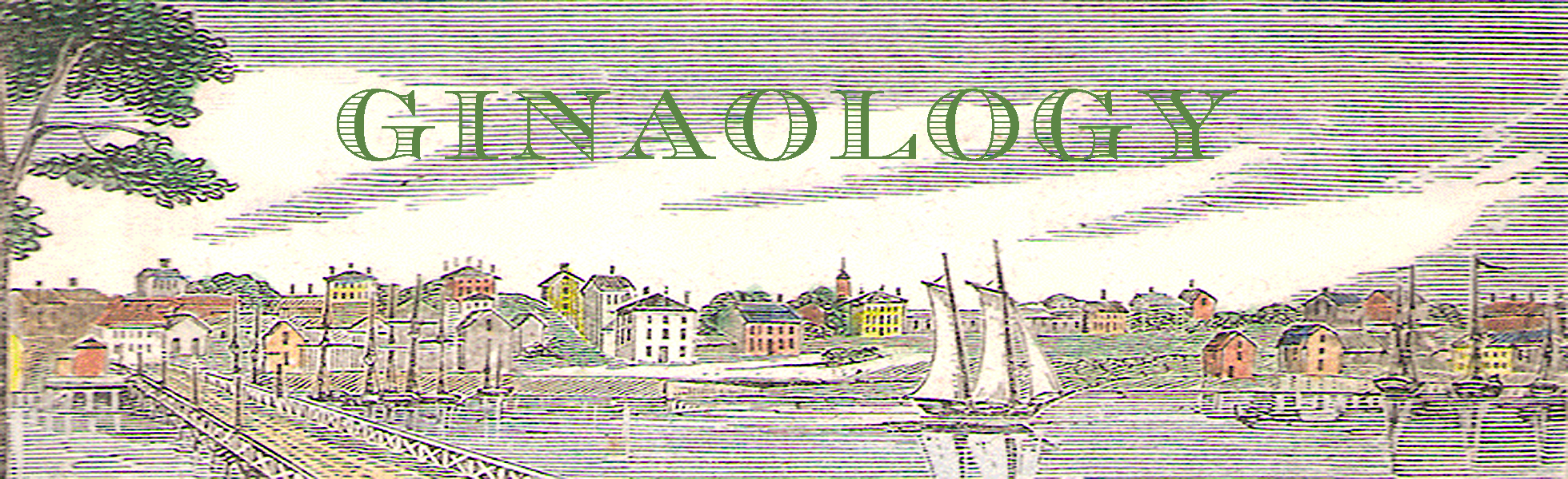 Beverly MA print with green Ginaology